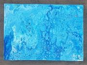Tableau pouring acrylique abstrait (132) signé acr.