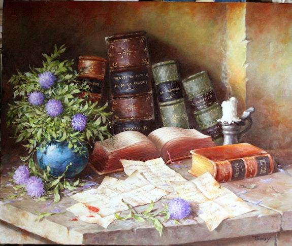 Vieux livres et bouquet. Marc Thouy Thouy