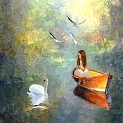La petite fille et la barque.