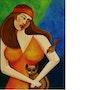 Mulher com gato e pássaro. Karllos Mota
