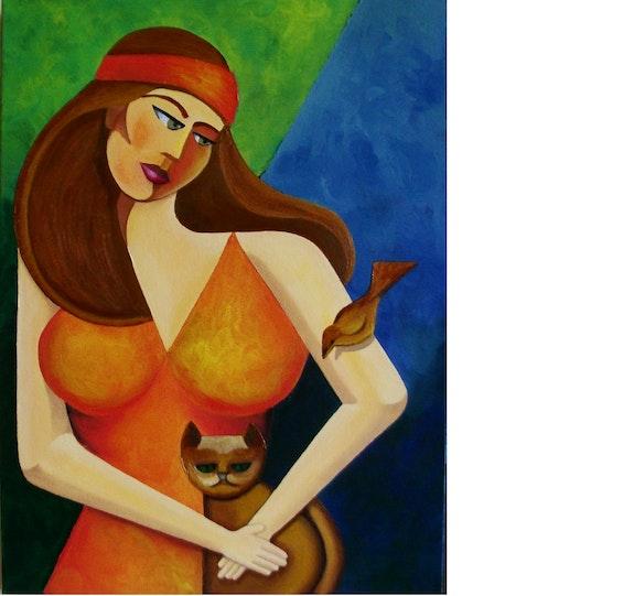 Mulher com gato e pássaro. Carlos Mota Karllos Mota