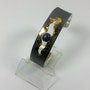 Bracelet manchette argent oxydé et Or 24 carats Lapis 6 mm serti clos. Klaus Chimot
