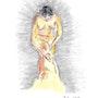 Femme nue posant avec une serviette. Stoof