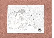 Femme nue sous la pluie.
