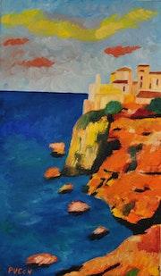Toile peinture tableau / Corse magnifique, Bonifacio / Akoun.