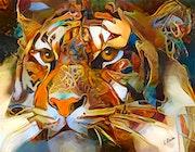 Caramel Tiger -80x60 cm. Léa Roche