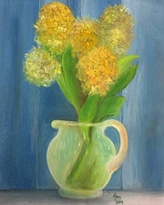 Yellow flower, oil on canvas.
