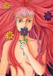 La Fille aux Fleurs (Aquarelle).