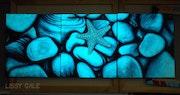 Set of 3 Original Starfish Glow in the Dark Paintings.