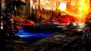 City on fire. Staffprod