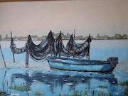 Barque et filets sur l'étang des Moures.