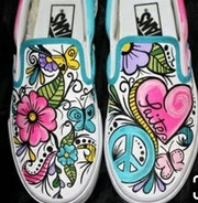 Custom sharpie art on Vans. Chelle O. H