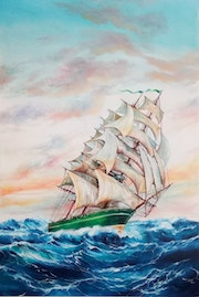 Le voilier majestueux. The majestic sailing ship.
