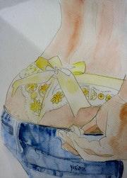 Une belle lingerie en dentelle, aquarelle. Yokozaza