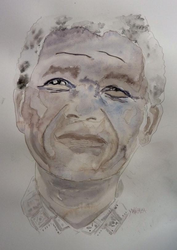 Aquarelle Nelson Mandela. Yokozaza Yokozaza