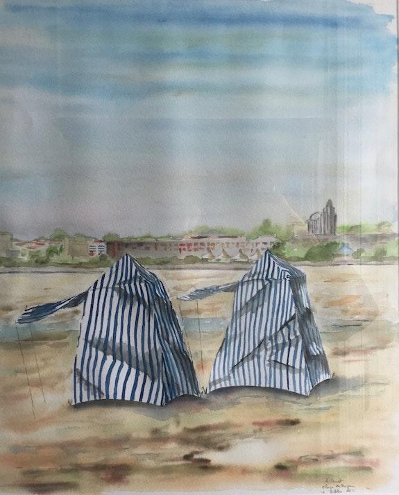 Tentes sur la plage de Royan. Alain Croset Alain Croset