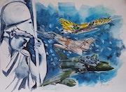 Minerve est la chasse mirage2000C, -5 et d. Forangeart F. Baldinotti Peintre De l'air