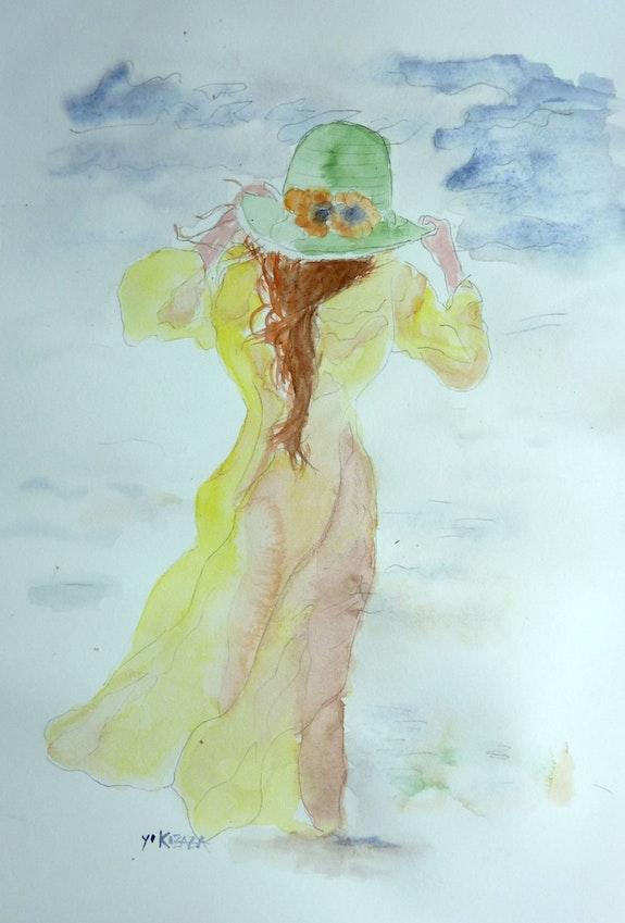 Aquarelle femme au chapeau. Yokozaza Yokozaza