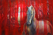Horse Metamorphosis - a large contemporary red oil painting of beautiful golden.