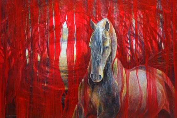 Horse Metamorphosis - a large contemporary red oil painting of beautiful golden. Gill Bustamante Gill Bustamante - Artist