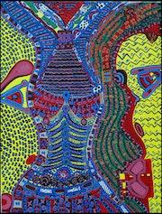 Artista israeli puntillista acrilico en canvas Mirit Ben-Nun. Mirit Ben-Nun