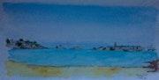 Saint Malo vu de la plage du Prieuré à Dinard.