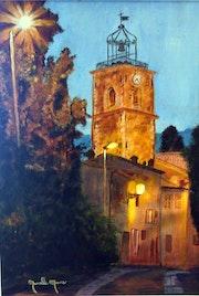 Eglise de Pégomas 06580 au crépuscule. Lacharielle