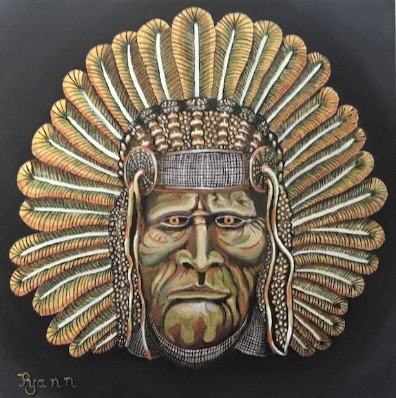 Masque indien metallique, indian mask. Yann Riou Yann Riou