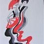 Geisha aux éventails. Yves Decaudan