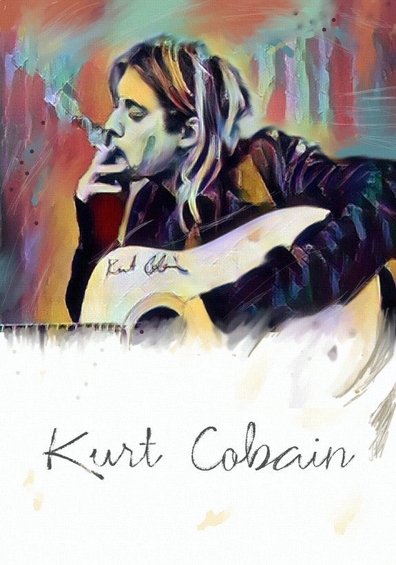 Kurt cobain - signed limited edition on canvas 18 X 24 inch. Mdjo Mdjo Van Der Wal