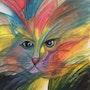 Chat dans un ciel multicolore. Relindis