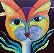 Chat végétal tout en couleur.