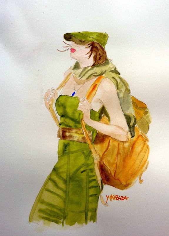 Aquarelle femme sportive, sexy. Yokozaza Yokozaza