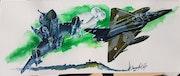 Mirage 2000n et d sur lmv. Forangeart F. Baldinotti Peintre De l'air