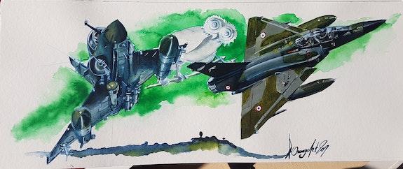 Mirage 2000n et d sur lmv. Baldinotti Forangeart F. Baldinotti Peintre De l'air