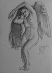 El ángel caido, dibujo a lápiz..
