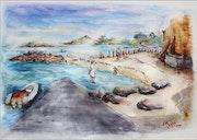 Carantec aquarelle vers l'ile Callot.