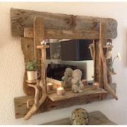 Miroir en bois flotté. Mumu Tethys