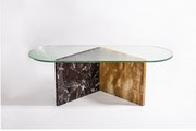 Tavolino Marble and Glass Coffee Table.