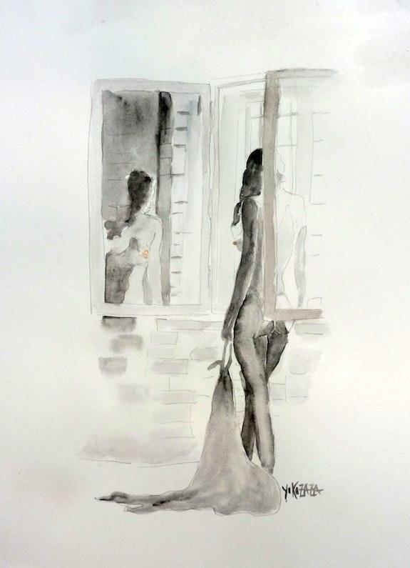 Aquarelle femme nue devant la fenetre. Yokozaza Yokozaza