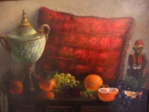 """""""Green Marble Vase with Fruit"""". Cheryl Ann Hardy Cheryl Ann Hardy"""