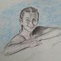 A la piscine. Alain Devred