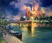 Notre Dame de Paris incendiée version 2. R Ricart