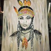 Femme Indienne apache de face.