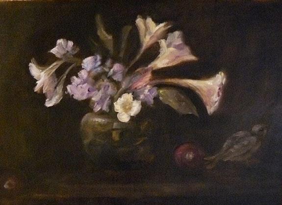 """""""Lillies in a Vase"""" stilllife on canvas panel. Cheryl Ann Hardy Cheryl Ann Hardy"""
