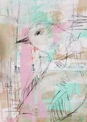 Jose Trujillo Illustration originale Peinture Acrylique Abstraite Oiseau Finch g.