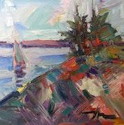 Jose Trujillo Expressionnisme Peinture à L'huile 20x20 Port Voilier Sky Square.