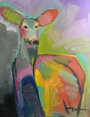 Jose trujillo Grande peinture à l'huile Doe Deer Nature Nature Expressionniste.