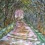 L'allee rose. Alain Faure En Peinture