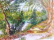 Sous les platanes. Alain Faure En Peinture